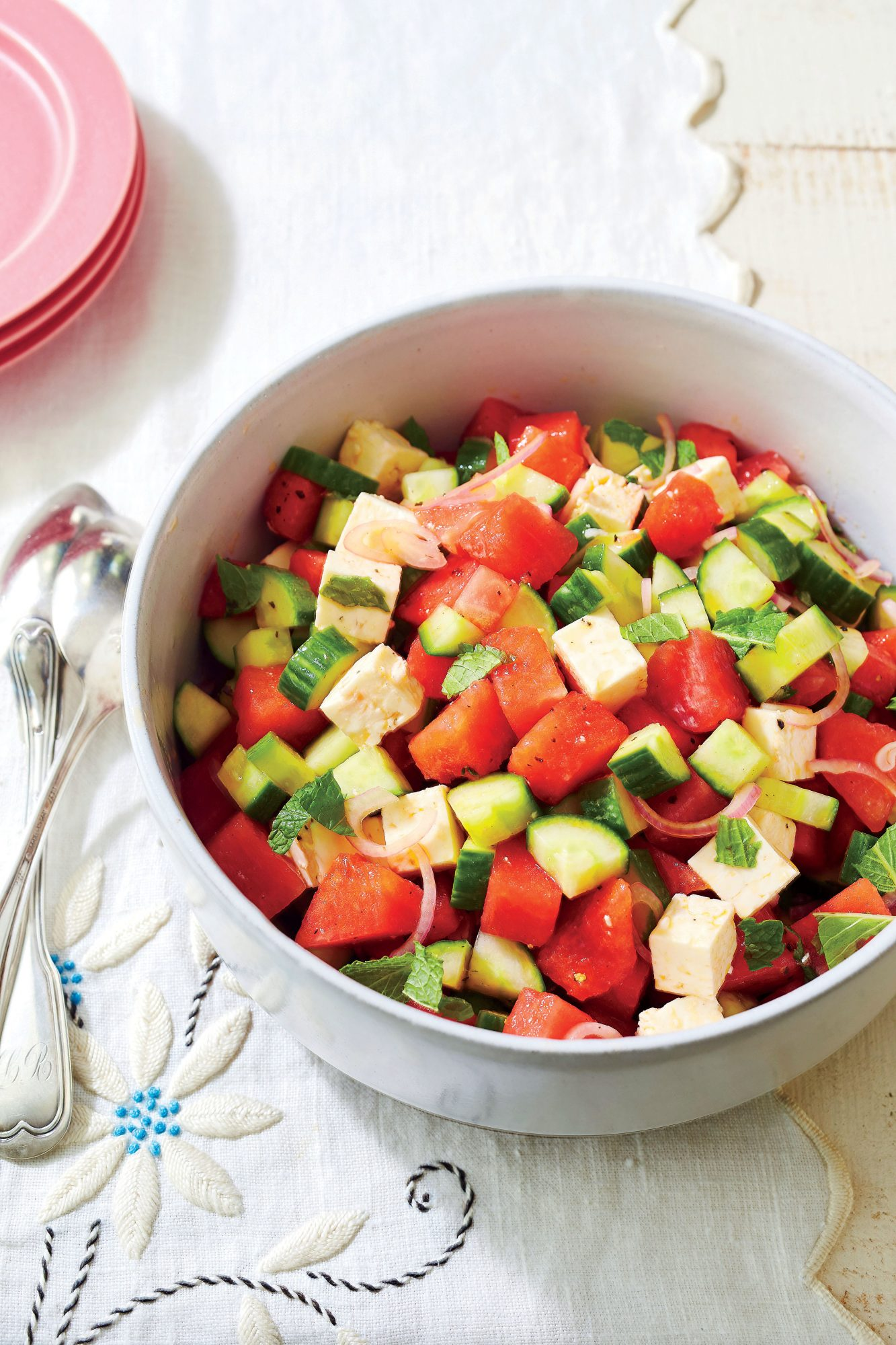 Watermelon, Cucumber, and Feta Salad
