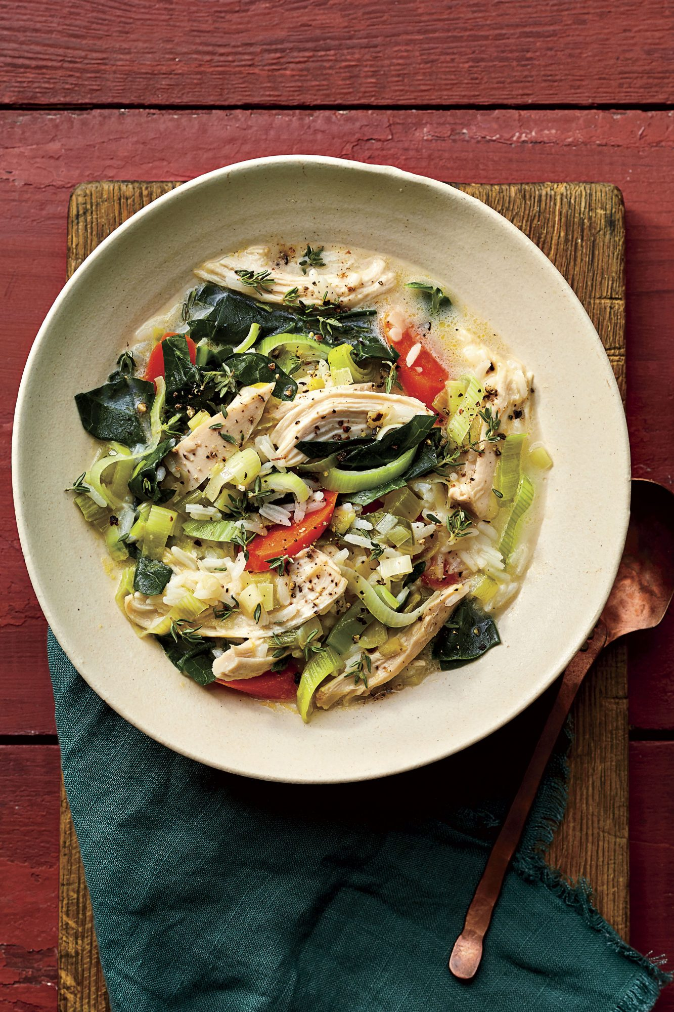 Creamy Chicken-and-Rice Soup with Collard Greens