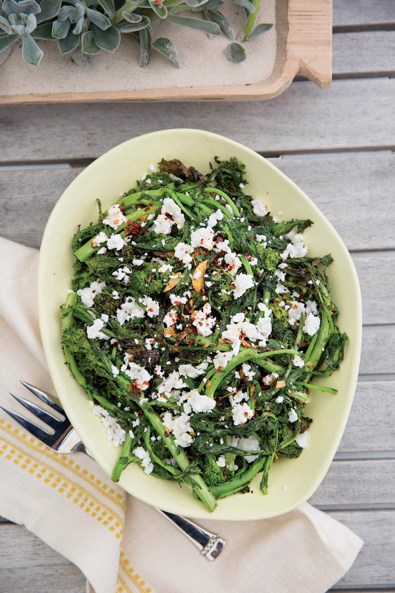 Grilled Broccoli Rabe with Feta and Crushed Red Pepper