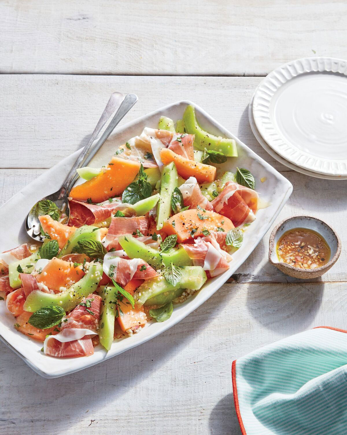summer-melon-salad-with-ham-and-mint-vinaigrette