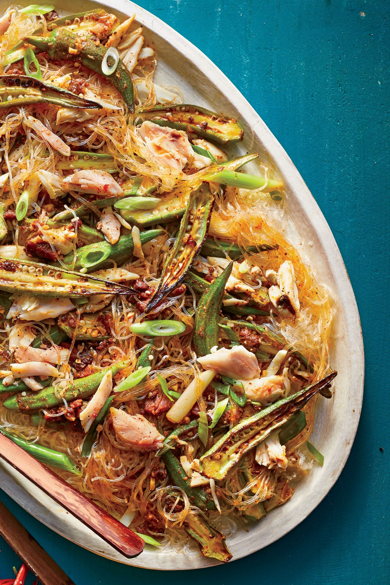 Cellophane Noodles with Crab, Okra, and Tasso