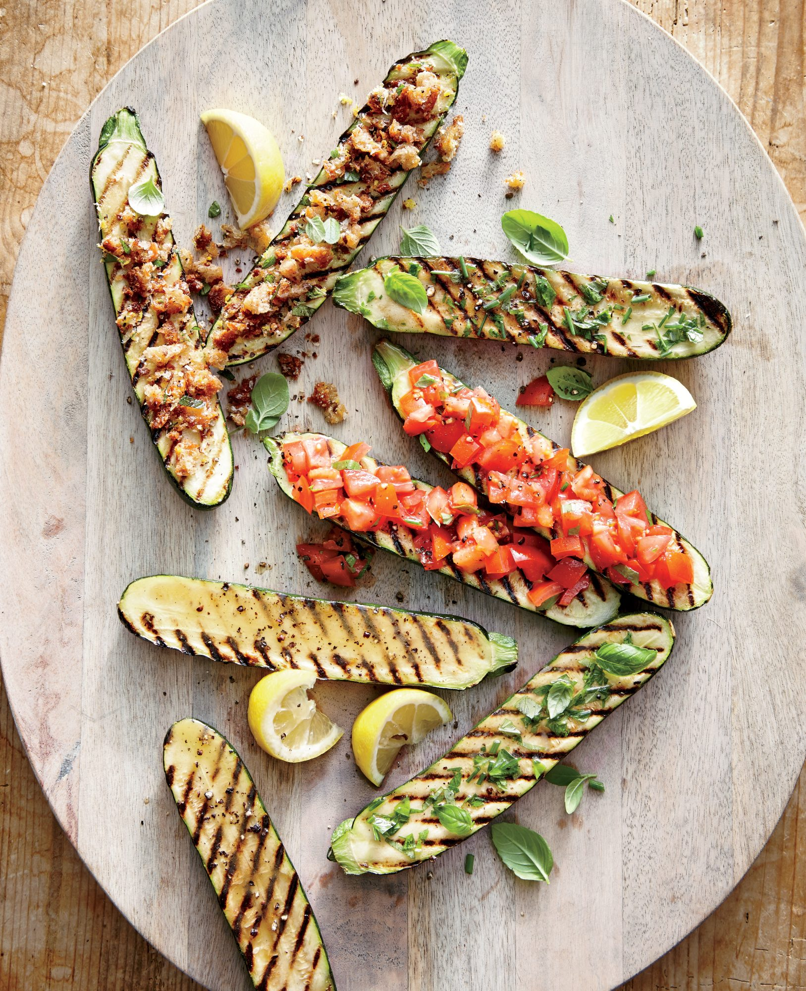 Grilled Zucchini with Lemon-Garlic Breadcrumbs