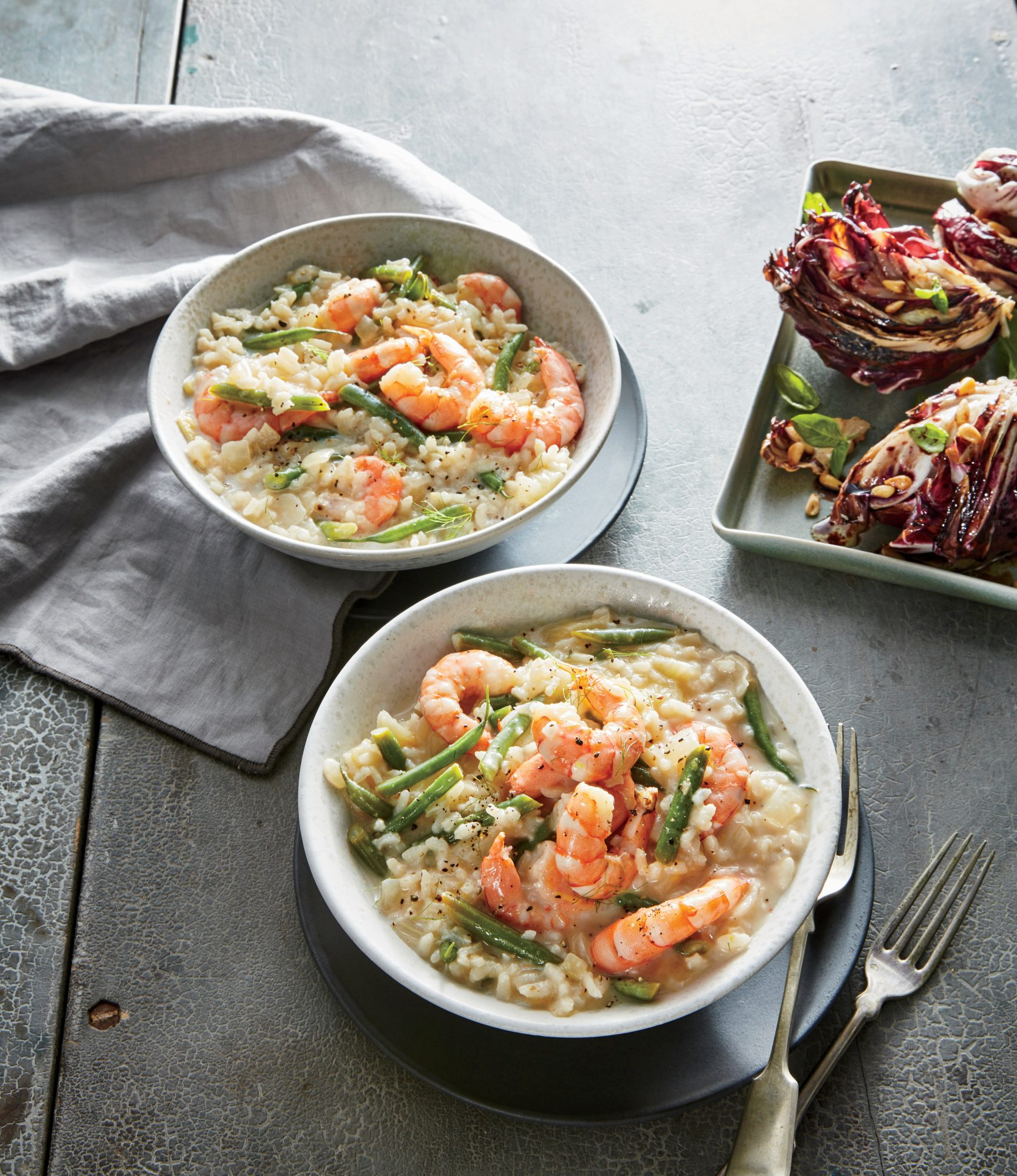 Lemon-Herb Risotto with Shrimp and Haricot Verts