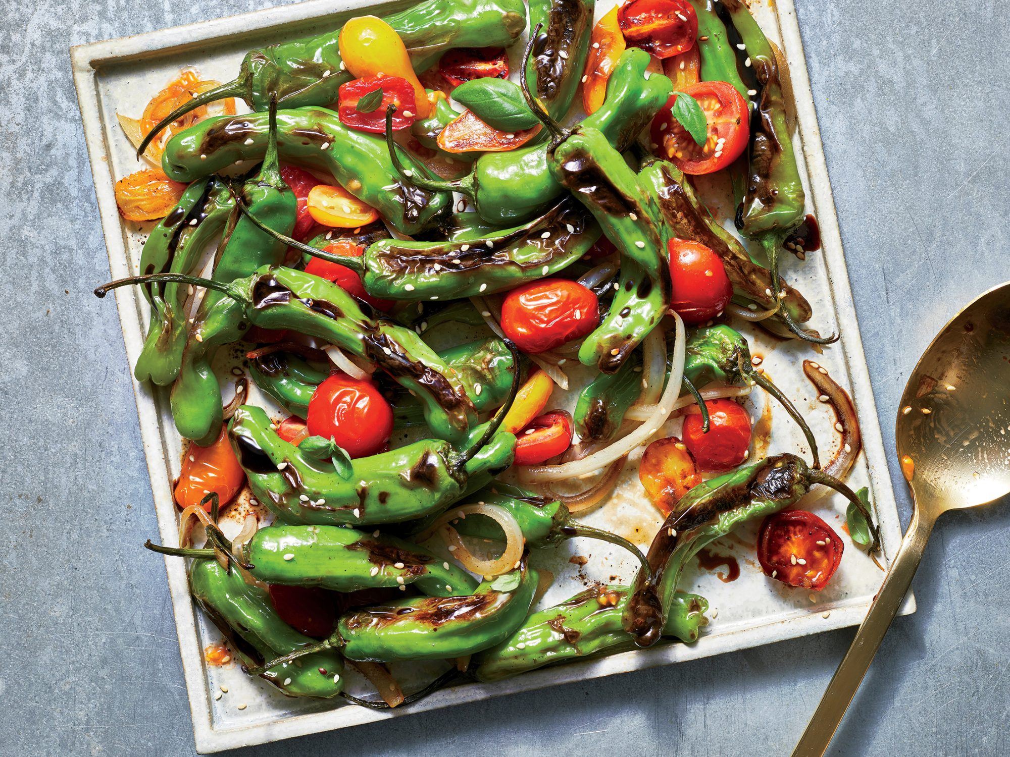 Blistered Peppers and Tomatoes