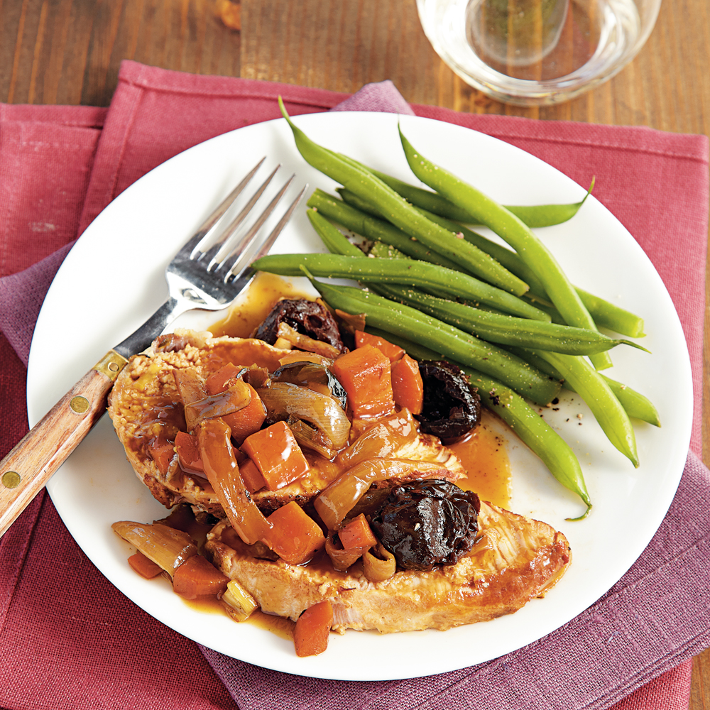 Braised Pork Loin with Port and Dried Plums