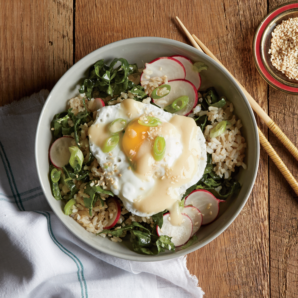 Brown Rice Bowl with Miso, Poached Egg, and Kale-Radish Slaw