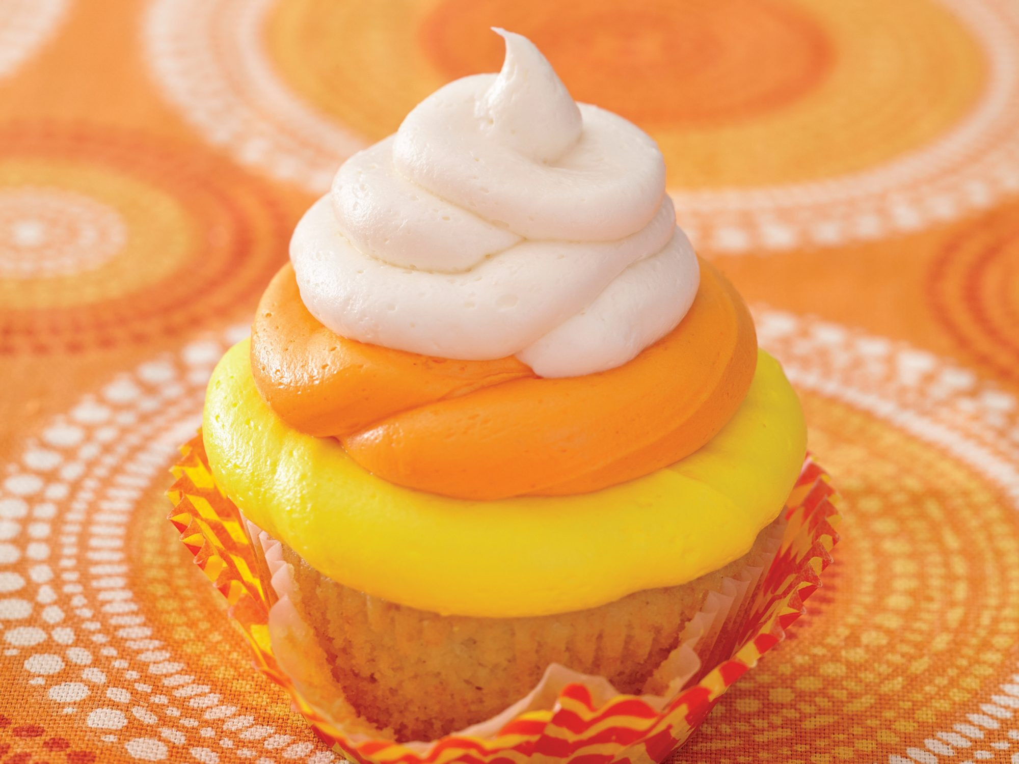 Orange Angel Food Cupcakes with Candy Corn Buttercream