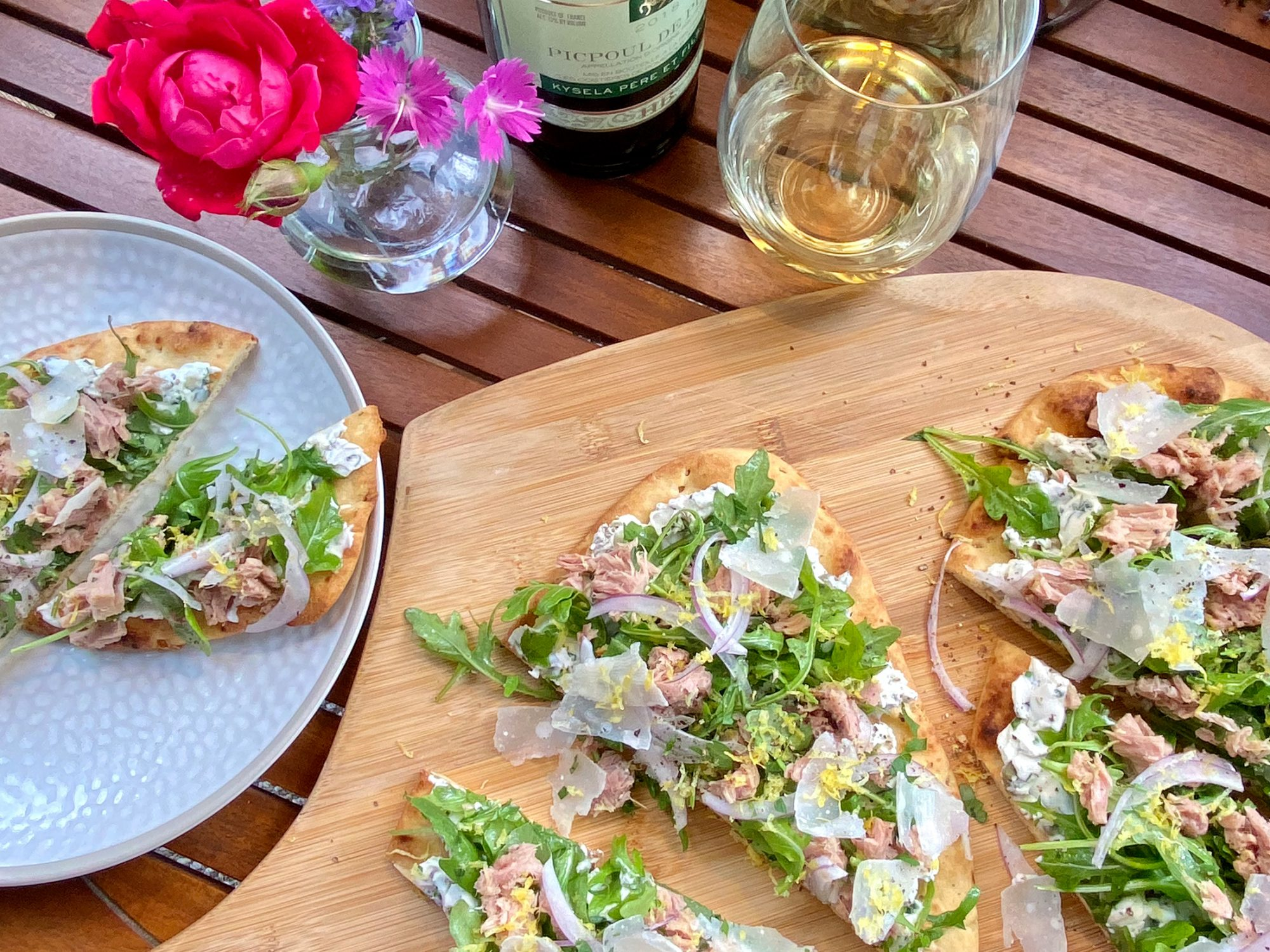 Tuna Flatbreads with Herbed Caper Cream Cheese, Arugula, and Parmesan image