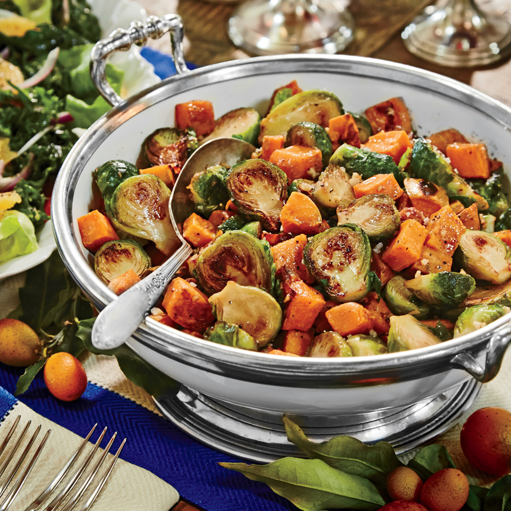 Caramelized Sweet Potatoes and Brussels Sprouts