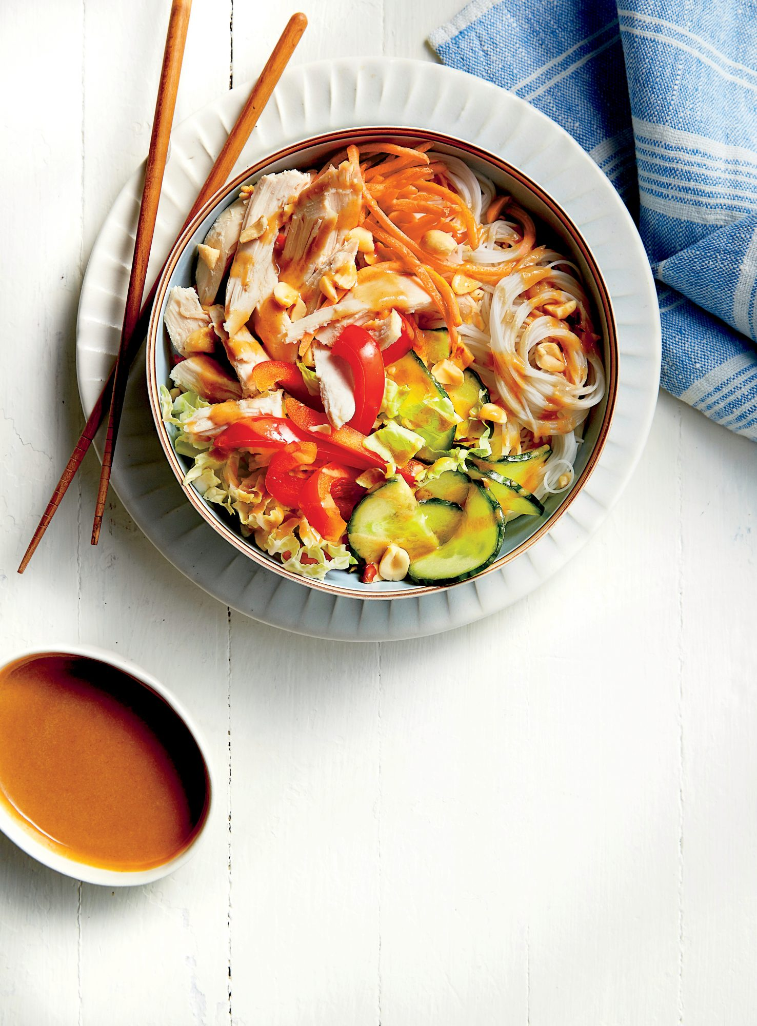 Chicken Noodle Bowl with Peanut-Ginger Sauce