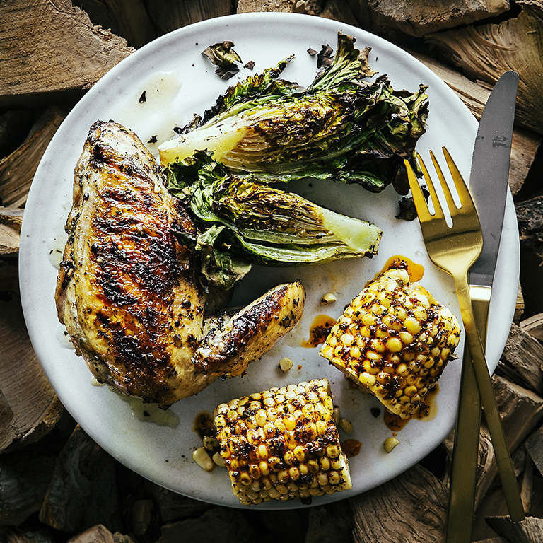 Grilled Chicken with Spicy Corn on the Cob and Grilled Lettuces