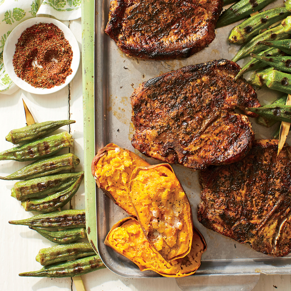 Chile-Rubbed Chops with Sweet Potatoes and Grilled Okra