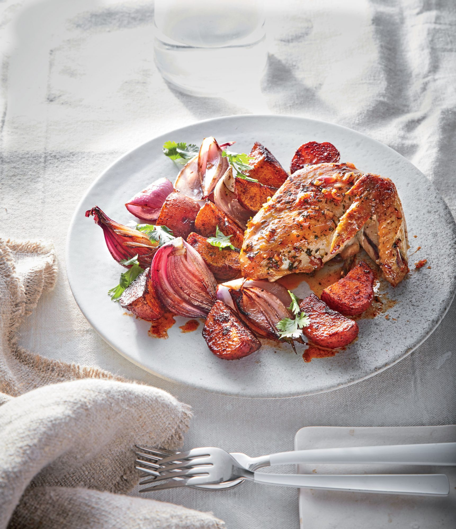 Chimichurri Roasted Chicken with Potatoes and Onions image