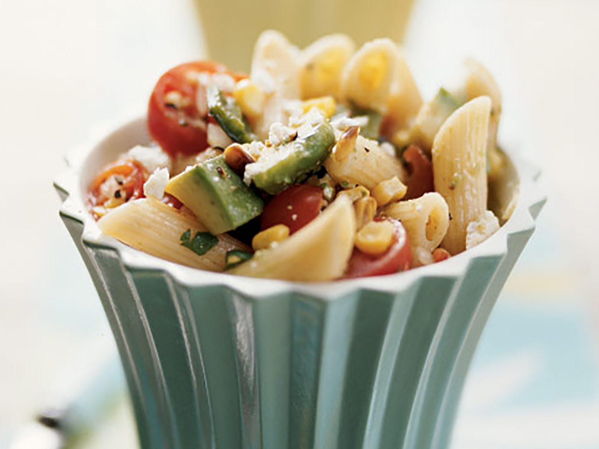 Penne with Corn, Roasted Poblanos, Avocado, and Tomato