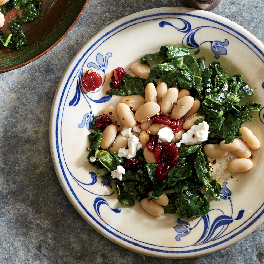Cranberry-Goat Cheese White Bean and Kale Salad