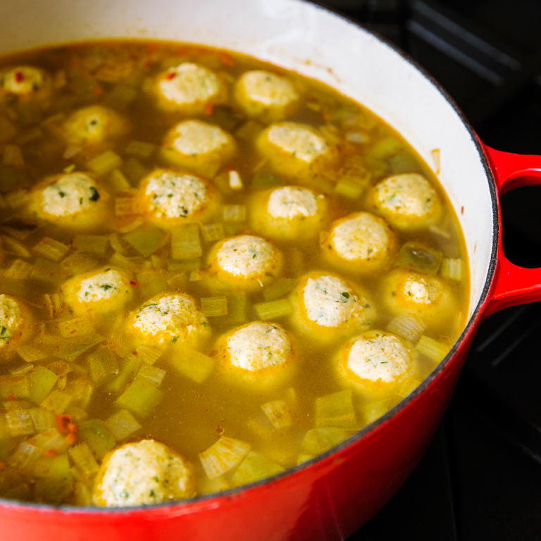 Spicy Matzo-Ball Soup with Trinity Vegetables and Hot Peppers