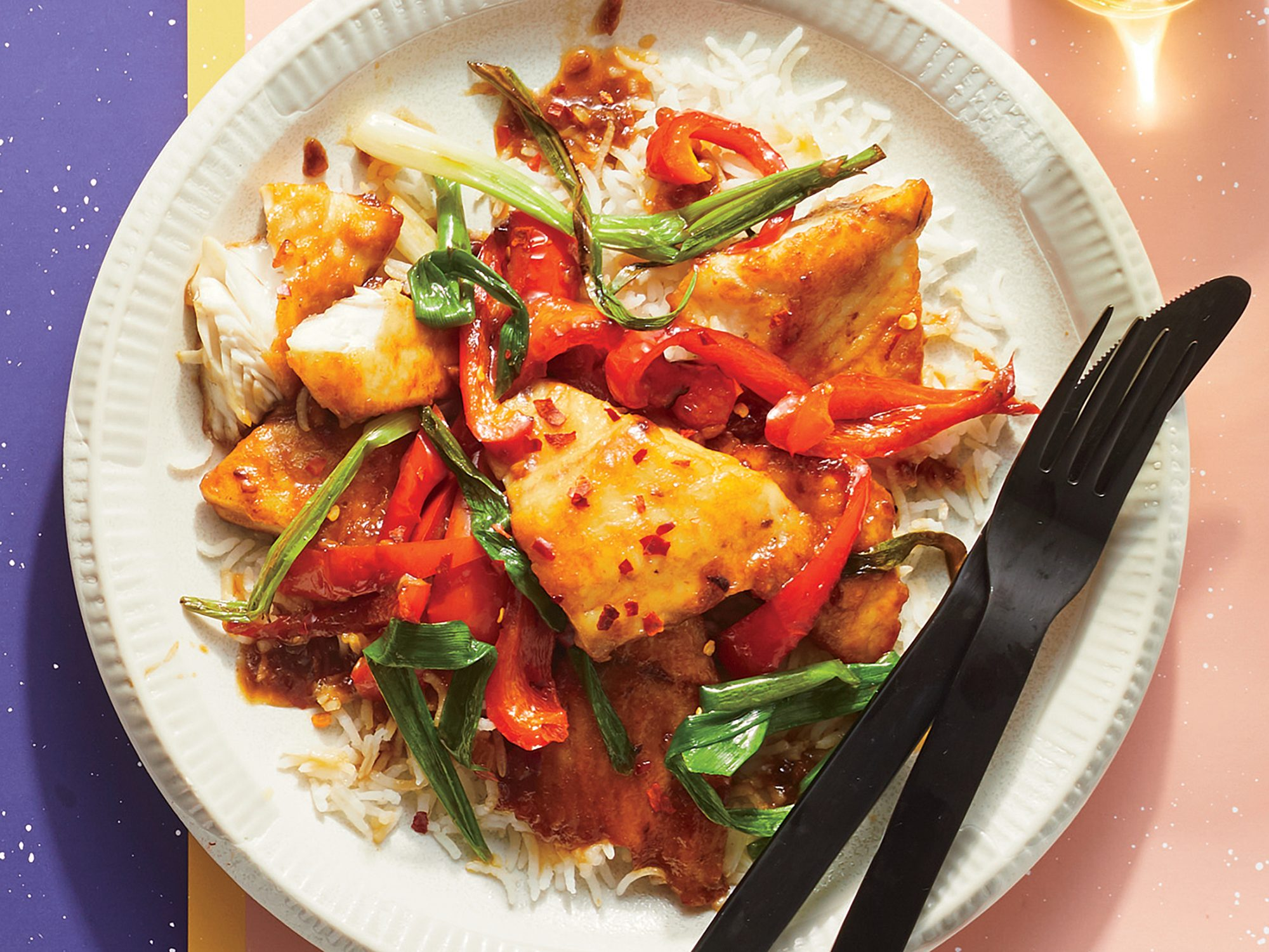 Crispy Fish with Scallions and Peppers