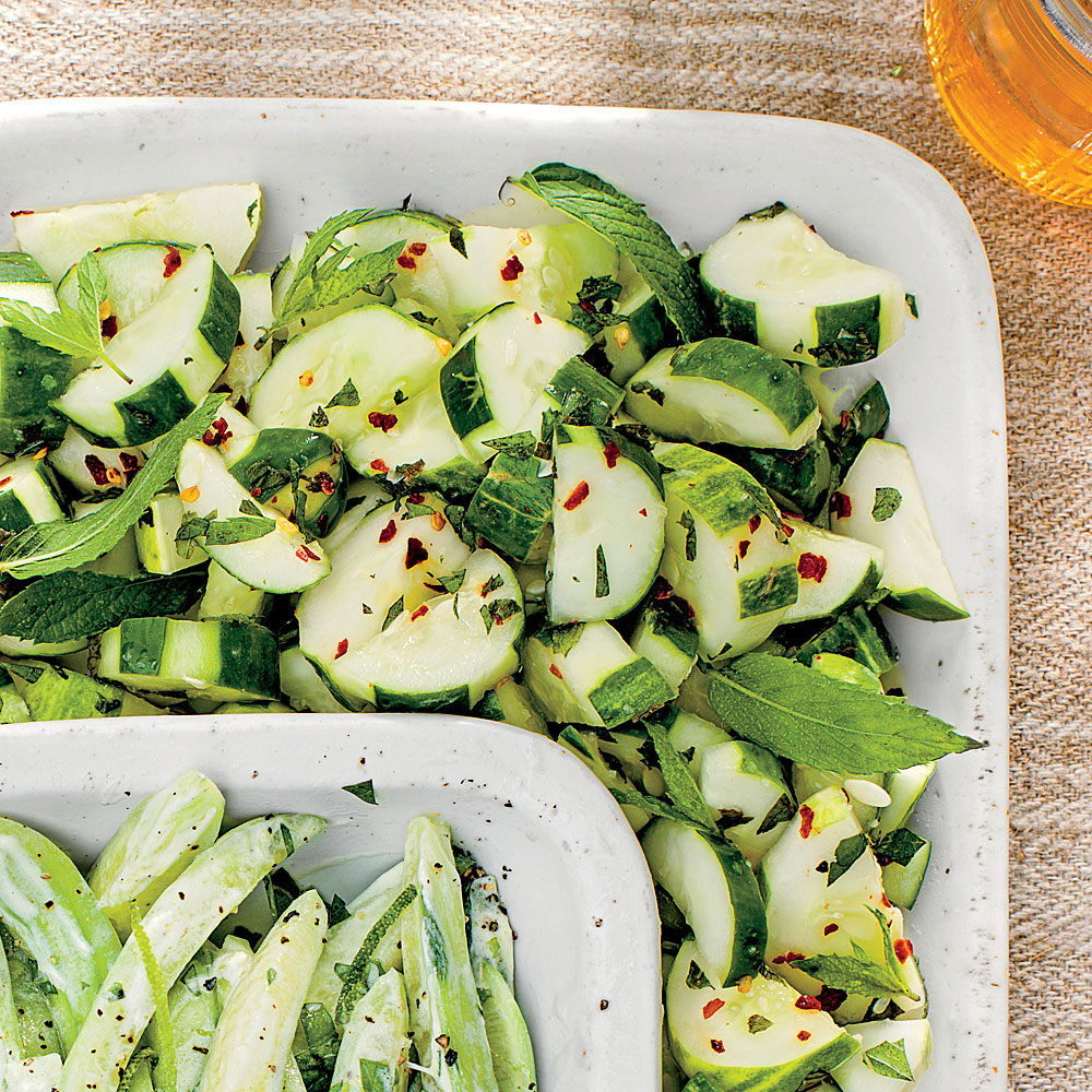 Cucumbers with Ginger, Rice Vinegar, and Mint