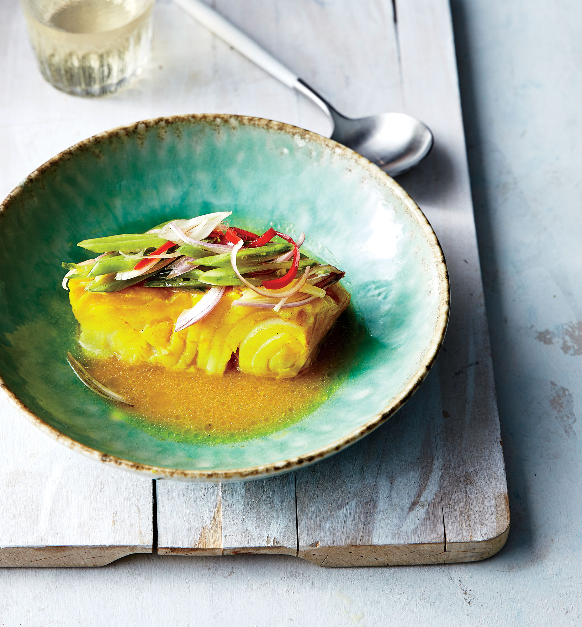 Curry-Poached Cod with Snap Pea Slaw