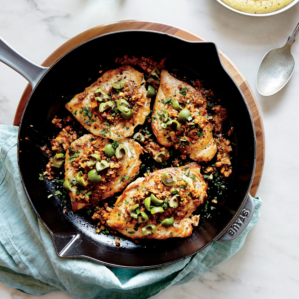 Flattened Chicken with Almond and Paprika Vinaigrette