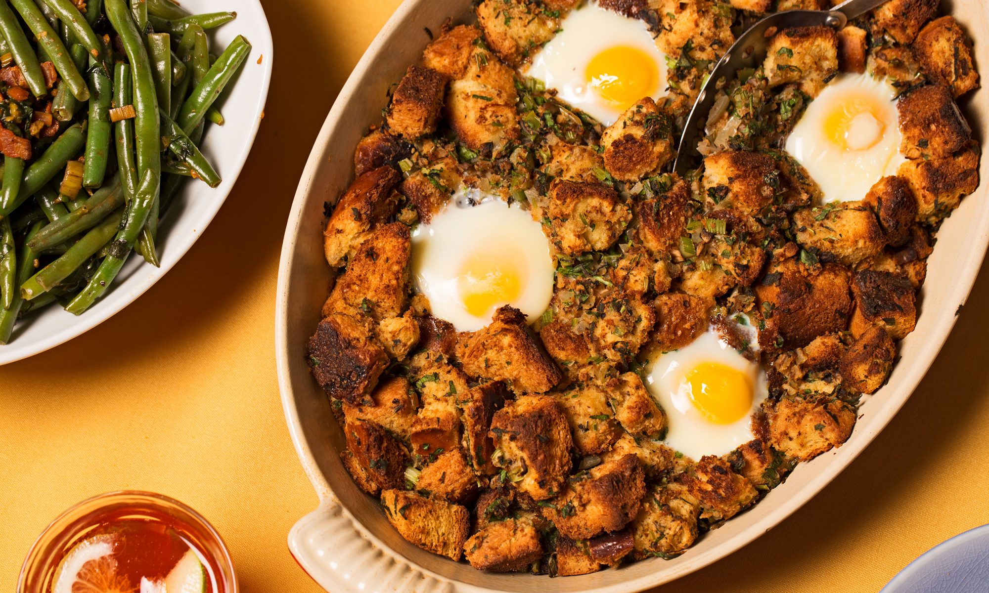friendsgiving baked egg stuffing casserole hero