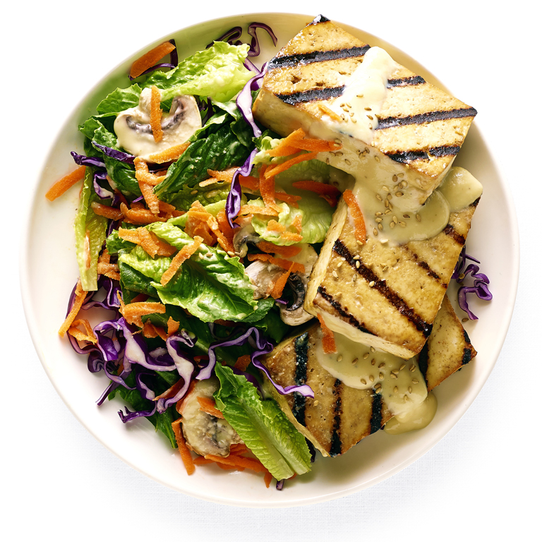 Greens with Miso-Ginger Dressing and Grilled Tofu
