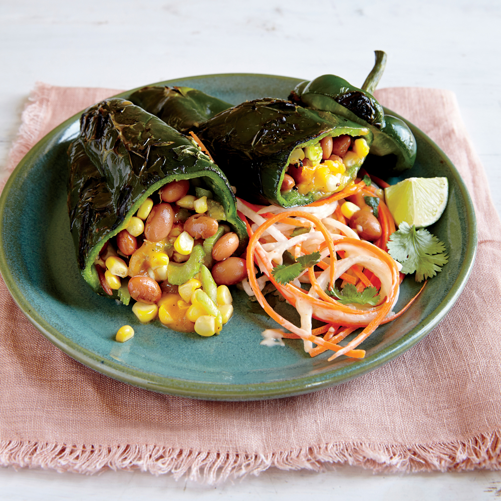 Grilled Bean and Cheese Stuffed Poblanos