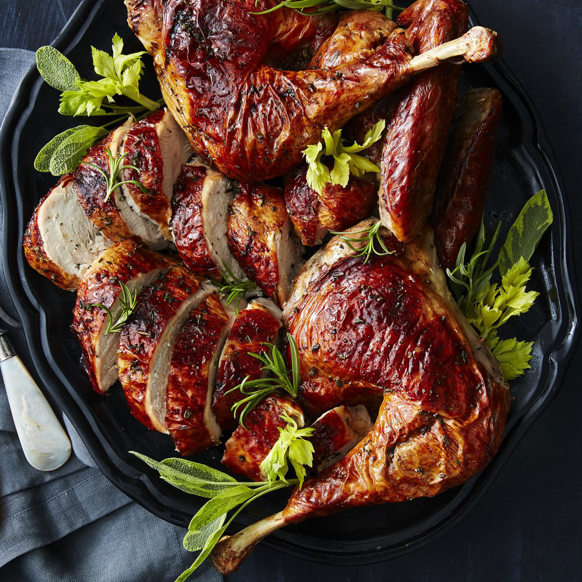 Grilled Butterflied Celery-Herb Turkey