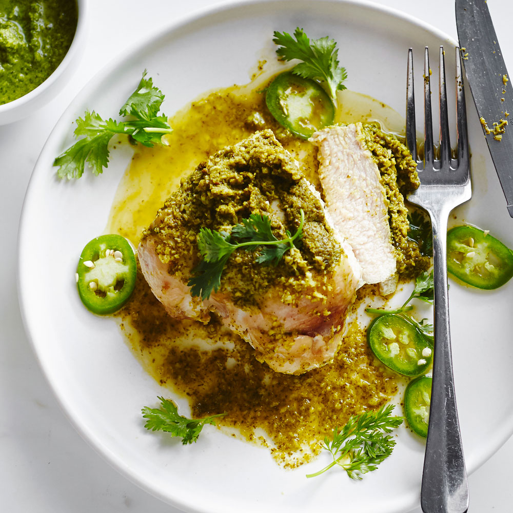 Grilled Chicken with Cilantro Coconut Chutney