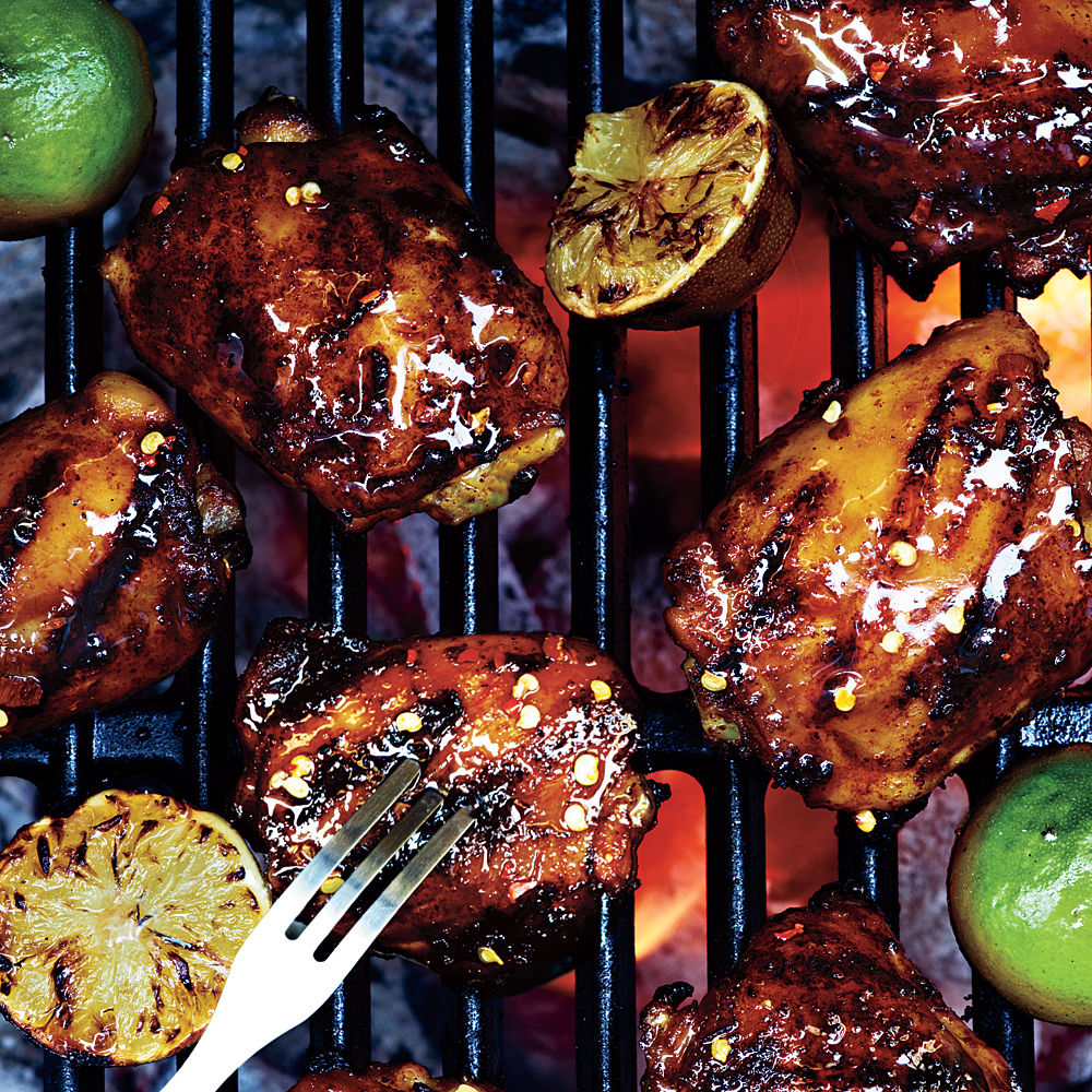 Grilled Chicken Thighs with Ancho-Tequila Glaze