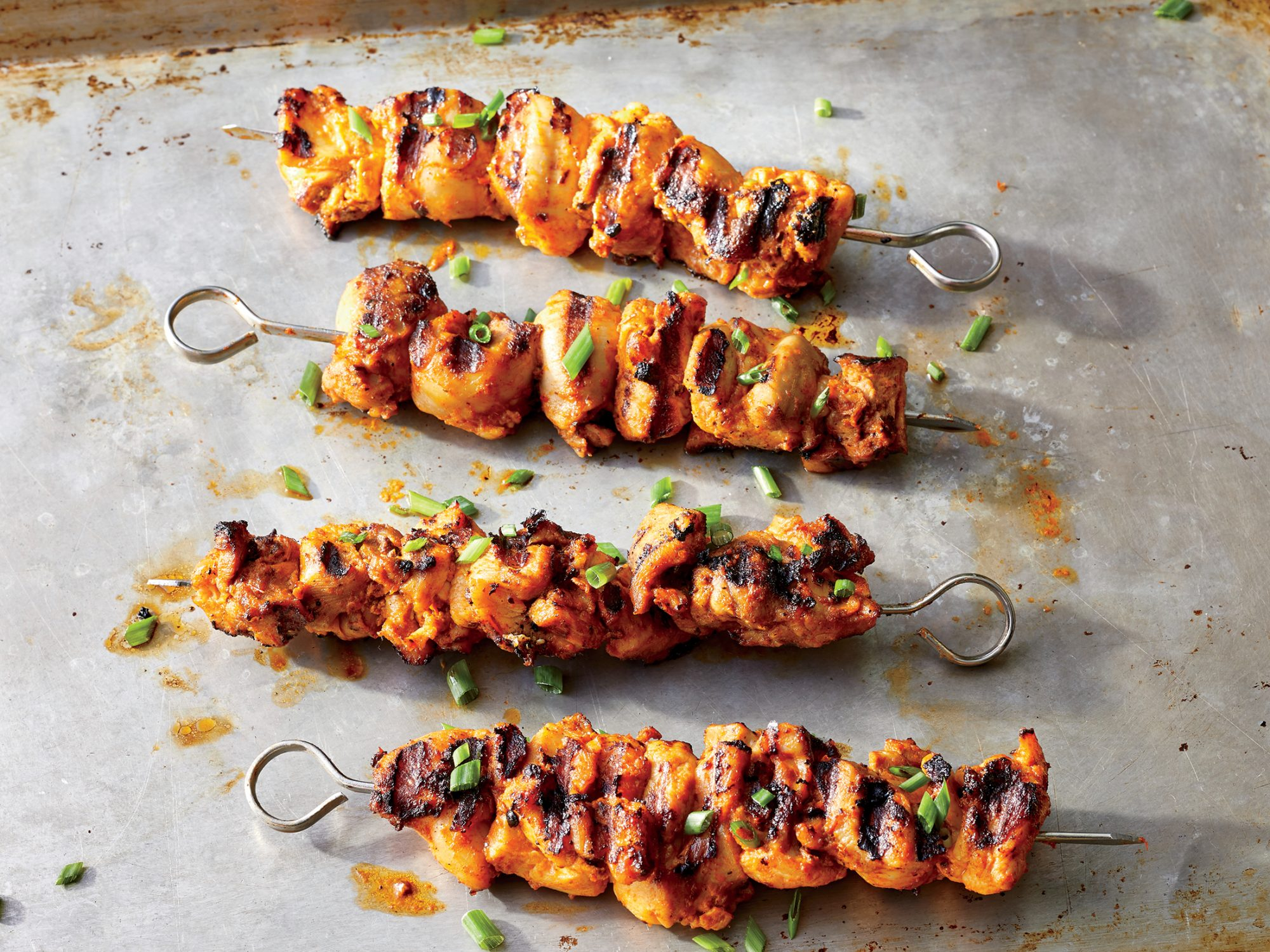 Harissa Grilled Chicken Skewers