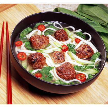 Teriyaki Meatballs with Udon Noodles