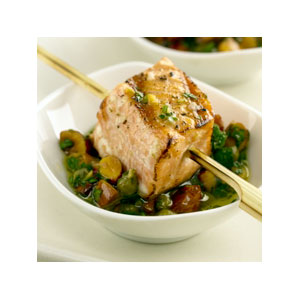 Almond Board Salmon Skewers with Almond Salsa Verde Recipes