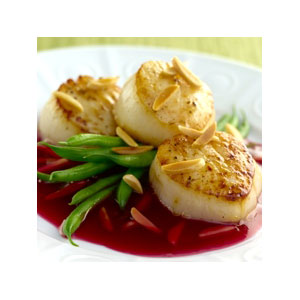Almond Board Seared Scallops with Pomegranate-Almond Glaze Recipes