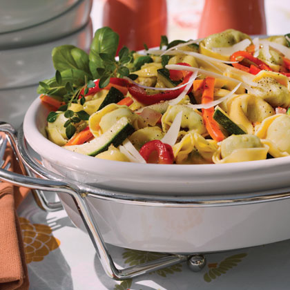Ricotta and Spinach Tortelloni With Summer Vegetables