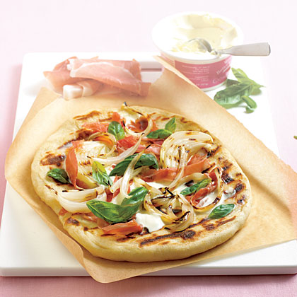 Grilled Pizza with Onions and Prosciutto