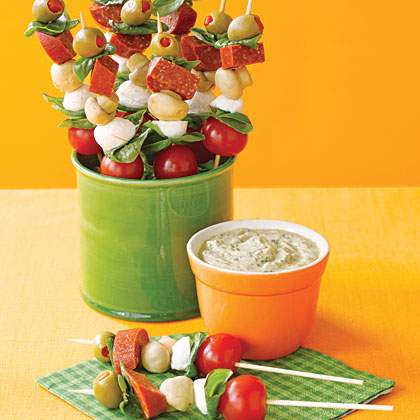 Antipasto Skewers with Pesto Dip