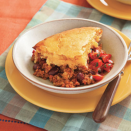 Turkey Chili Cheese Pie with Cornmeal Crust