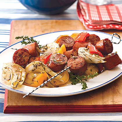 Turkey Kielbasa Kebabs with Peppers and Fennel