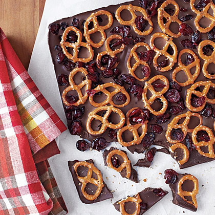 Dark Chocolate Bark with Pretzels and Dried Cranberries