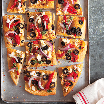 Roasted Red Pepper, Feta and Hummus Pizza