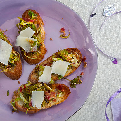 Brussels Sprout and Bacon Crostini