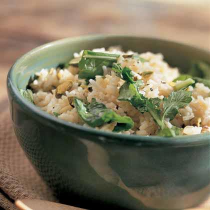 Rice Pilaf with Arugula and Pistachios
