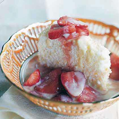Almond Angel Food Cake with Crème Anglaise and Macerated Strawberries