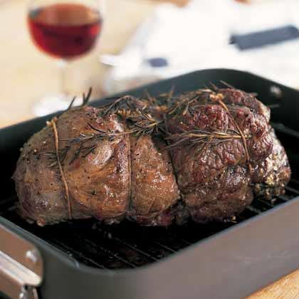 Mediterranean Roasted Leg of Lamb with Red Wine Sauce