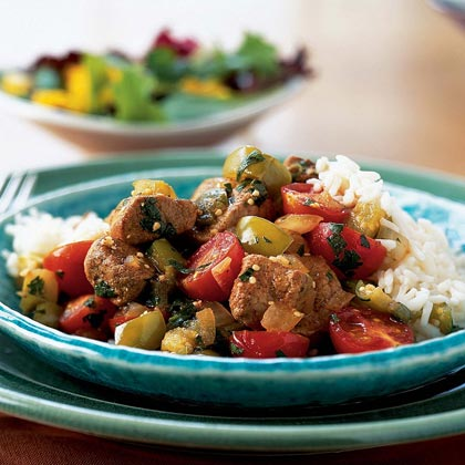 Tangy Pork with Tomatillos, Tomatoes, and Cilantro