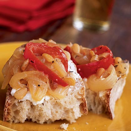 Sweet Pepper and Onion Relish with Pine Nuts