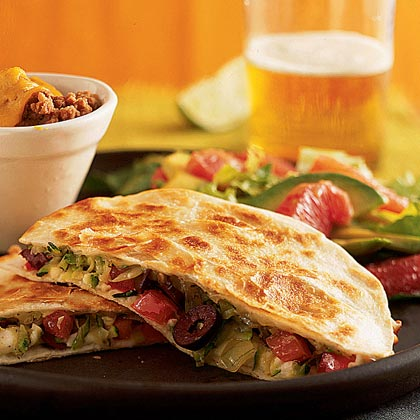 Zucchini, Olive, and Cheese Quesadillas