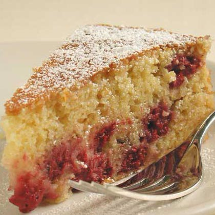 Fresh Corn Cake with Raspberries