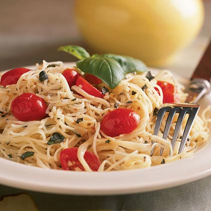 Pasta with Herbed Goat Cheese and Cherry Tomatoes